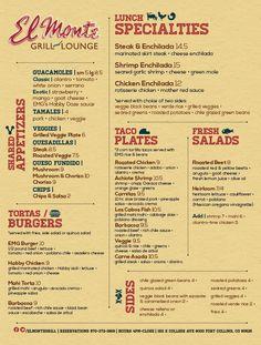 El Monte Grill Menu Set by Drake Fontana, via Behance