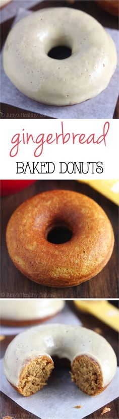 {HEALTHY!} Gingerbread Donuts with Maple Glaze -- like eating cupcakes for breakfast! But they're baked, not fried so you can eat more!