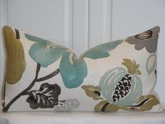Decorative Pillow Cover - Throw Pillow - Accent Pillow - Teal - Aqua Green - Brown - Tan - Lumbar - Bed Pillow - Sofa Pillow. $39.00, via Etsy.