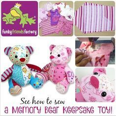Sewing Toys How to sew a memory toy keepsake teddy bear Sewing Toys, Baby Sewing, Sewing Crafts, Sewing Projects, Sewing Stuffed Animals, Stuffed Animal Patterns, Memory Crafts, Baby Crafts, Teddy Bear Sewing Pattern