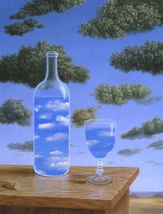 Surrealist painter Samy Charnine (not by Rene Magritte, or Rafal Olbinski) - Nuages. Rene Magritte, Conceptual Art, Surreal Art, Jean Arp, Alberto Giacometti, Max Ernst, Anime Kunst, Fantasy Kunst, Art History