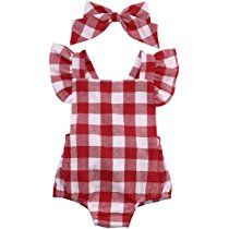 Newborn Infant Baby Girls Clothes Plaids Checks Romper Jumpsuit Bodysuit Outfits