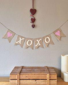 ❤️ XOXO Hessian Burlap Bunting Banner Wedding Engagement Photo Prop #Unbranded