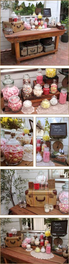 Candy buffet...love the vintage feel