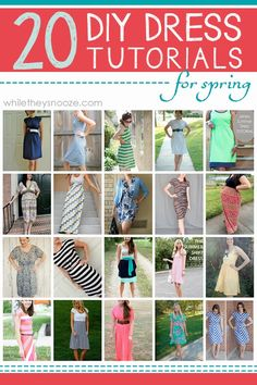 20 DIY Dress Tutorials for Spring. Lots of simple DIY dresses! Mostly suitable for knit fabrics.