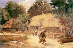 """""""Zagroda_w_Bronowicach"""". 1900 .Włodzimierz Tetmajer. Oil on canvas."""