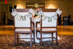 """Cute """"Bride"""" and """"Groom"""" banners for reception chairs"""