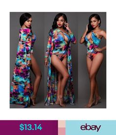 452d198127f61 $13.83 - One Piece Set Swimsuit With Beach Cover Up Floral Cut Out Swimwear  Matching Robe