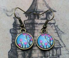 pendientes serie naturaleza - flores lilas  metal,resina artesania