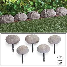 Set of 5 Stone Rock Look Stake Garden Path Outdoor Pathway Trail Flowerbed Walkway Edging Border Yard Decor >>> More info could be found at the image url.