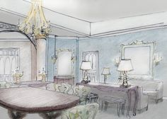 This Jazz Hotel for New Orleans' design was inspired by music!  Hand sketched dining room by Ida York Interior Design