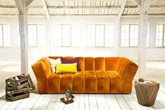 CHOCOLAT Sofa by BRETZ: Orange Velvet.