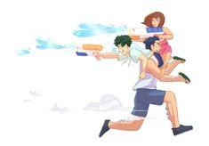 🔫💦 i just felt the urge to draw iida run with Deku and Urakara in his arms; My Hero Academia Episodes, My Hero Academia Memes, Buko No Hero Academia, Hero Academia Characters, My Hero Academia Manga, Asui Boku No Hero, Boku No Hero Academy, Me Me Me Anime, Drawing Reference