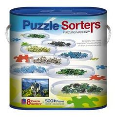 When my sister brought home a box of these jigsaw puzzle-sorting trays, I admit that I was skeptical.  But the eight lightweight, stackable trays really are a huge help in assembling puzzles.  If I were to tackle a jigsaw with more than one thousand pieces, I would ideally have a second set of sorting trays.