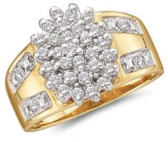Cluster Diamond Ring 10k Yellow Gold Anniversary Ladies (1/2 Carat) #Diamond  #fashion #Jewelry jeweltie.com