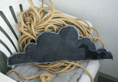 Sauna pillow made of old jeans. Self made horse print.