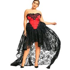 d53a7a726413b Plus Size High Low Two Piece Corset Dress