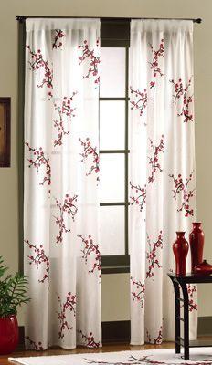 Asian Bedroom Cherry Blossom Curtain Panel Set.