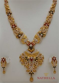 Latest Indian Gold and Diamond Jewellery Designs: December 2012 Gold Chain Design, Gold Jewellery Design, Diamond Jewellery, Gold Jewelry Simple, White Gold Jewelry, Collier Floral, Collier Antique, Collier Simple, Antique Necklace