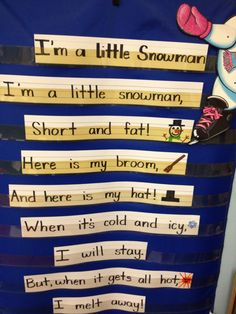 Snow/ Ice For the Love of Kindergarten: Snowman pocket chart song/poem Preschool Music, Kindergarten Classroom, Classroom Activities, Snowman Songs, Snowman Poem, Preschool Christmas, Preschool Winter, Christmas Nursery Rhymes, Christmas Poems