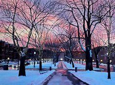 Winter sunset scene of Comm Ave in Boston.   #art #boston