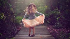 Little Girl Dress Wooden Bridge HD Wallpaper