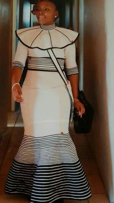 Modern Xhosa traditional dresses for african women's - Fashionre Latest African Fashion Dresses, African Print Dresses, African Print Fashion, African Dress, African Prints, Xhosa Attire, African Attire, South African Traditional Dresses, Traditional Outfits