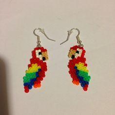 Parrot earrings hama mini beads by noelia073