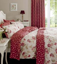 red floral vintage reversible duvet set
