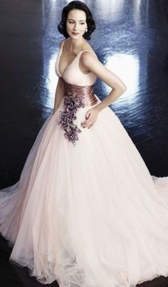 For the bride who prefers colour to tradi tion, more and more bridal fashion designers are including coloured gowns in their collections; Colored Wedding Gowns, Wedding Dresses, Wedding Colors, Blush Gown, Queen, Beautiful Gowns, Dream Dress, Bridal Gowns, Blush Bridal