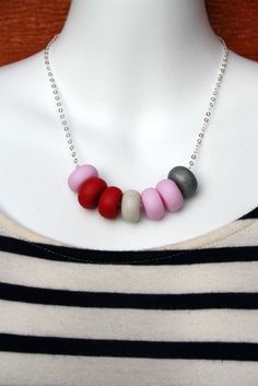 Pink, Ruby, White & Grey Polymer Clay Sterling Silver Necklace