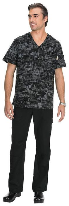 Koi Coby Retro Camo Top.  Top clásico con cuello en V para hombres 100% algodón 6 bolsillos,incluye bolsillo en el pecho con cierre de velcro, bolsillos laterales ocultos y más Detalle de bolsillo trasero para almacenamiento adicional Ranuras laterales