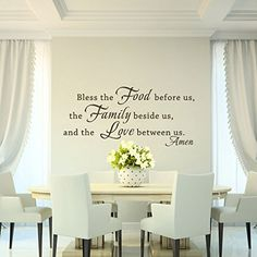 GECKOO Bless Quote- Bless The Food Before Us The Family Beside Us And The Love Between Us - Family Wall Decal Dining Room Vinyl(Dark Brown, Large)