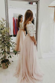Pink two pieces lace tulle long prom dress, pink tulle evening dress - dresstby Elegant Prom Dresses, Pink Prom Dresses, A Line Prom Dresses, Evening Dresses, Two Piece Bridesmaid Dresses, Two Piece Wedding Dress, Tulle Bridesmaid Dress, Pretty Dresses, Bridal Party Dresses