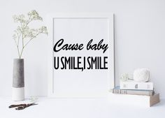 Justin Bieber quote, U smile, I Smile song lyric art, wall art, print, Purpose album, dorm room decor, dorm decor von sweetandhoneyprints auf Etsy
