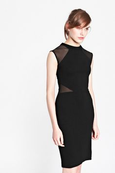 Viven Panelled Jersey Dress   Mesh Dresses Lace Dresses   French Connection Usa