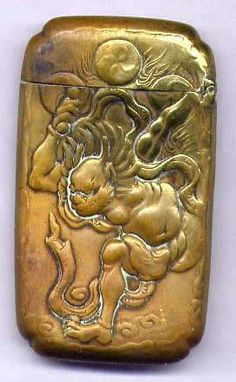 S023 Antique Japanese God of Thunder Brass Match Safe Vesta Case | eBay
