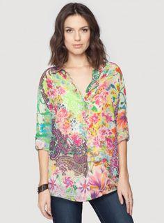 8282d18e Johnny Was Bermuda Button Down Shirt #floral #flower #print #mixedprints  #fashion