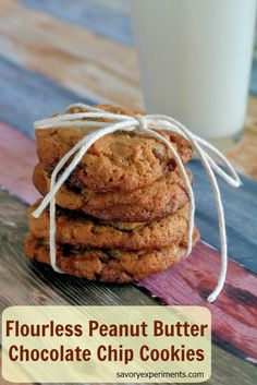 Flourless peanut butter and chocolate cookies are moist, rich and super simple to prepare. | www.savoryexperiments.com