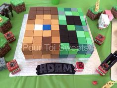 Half Creeper and half Steve, Minecraft cake. My nephew requested his cake to have both characters combined...