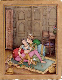 Mughal Emperor and Empress Enjoying Quality Time with Hookah Miniature painting Mughal Miniature Paintings, Mughal Paintings, Indian Art Paintings, Classic Paintings, Rajasthani Painting, Sexy Painting, Ancient Greek Art, India Art, Art Corner