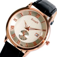 $5.45 (Buy here: http://appdeal.ru/8g7t ) Black Leather Band Rose Gold Dial Men Women Quartz Wrist Watch Roman Numbers Design Casual Watches Relogio Masculino  for just $5.45