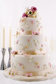 Spring Wedding Cake..... This cake is very pretty. But the mushroom things look funny and need to go.