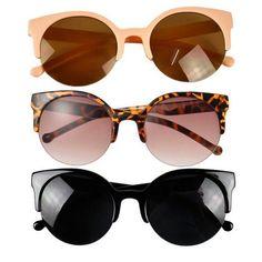 eee806d70e Round Half Frame Cat Eye Sunglasses Circle Sunglasses