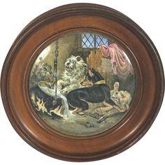 Antique English Framed Pot Lid Dog Fight