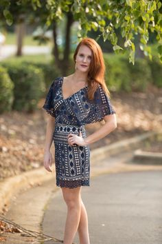 Lydia Lace Dress in Navy