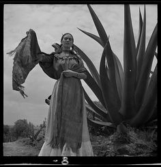 """* Frida Kahlo  standing next to an agave plant, during a photo shoot for Vogue magazine, """"Senoras of Mexico"""" 1937 photo Toni Frissell (1907-1988)"""