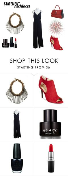 """""""Red & Black Sweet or Sassy"""" by namaste203 ❤ liked on Polyvore featuring Adrienne Vittadini, Kaya di Koko, Kenneth Cole, OPI, MAC Cosmetics, RedShoes, LeatherBag, statementnecklaces and BlackJumper"""