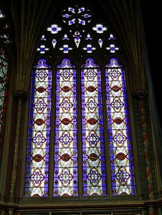 Stained glass window, Ely Cathedral  -window of the Lantern tower is Victorian.