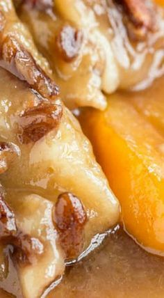 Peach Pecan Cobbler ~ A sweet and buttery dessert recipe that's loaded with fresh peaches and toasted pecans. This simple and easy dessert comes together in one pan. Mini Desserts, Just Desserts, Dessert Recipes, Fruit Dessert, Dessert Dishes, Summer Desserts, Dessert Ideas, Breakfast Recipes, Pecan Cobbler